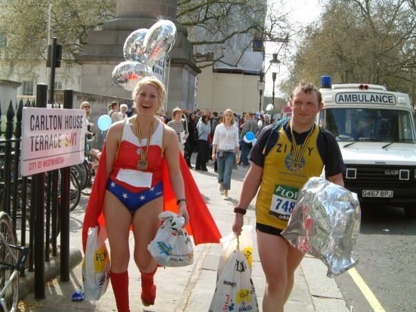 Wonder-Woman doing the London Marathon